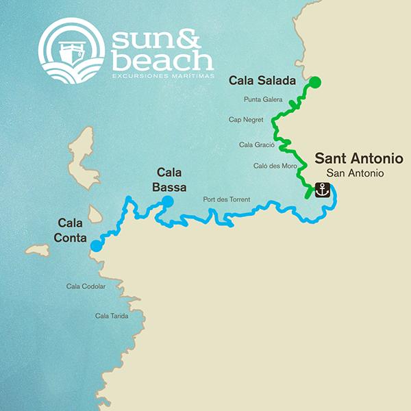Cala Salada Ibiza Mapa.San Antonio Cala Salada Ulises Cat Barco Ibiza Formentera
